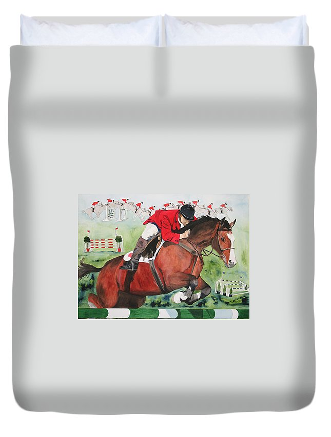 Horse Duvet Cover featuring the painting Practice Makes Perfect by Jean Blackmer
