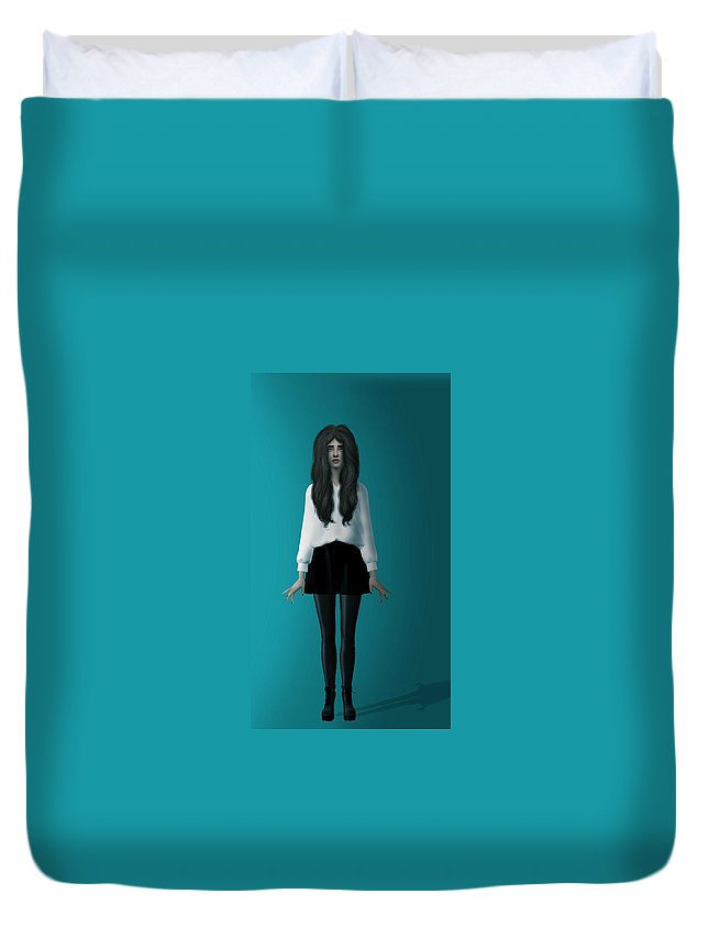 Girl Duvet Cover featuring the digital art Practice by Sean Onyekwena