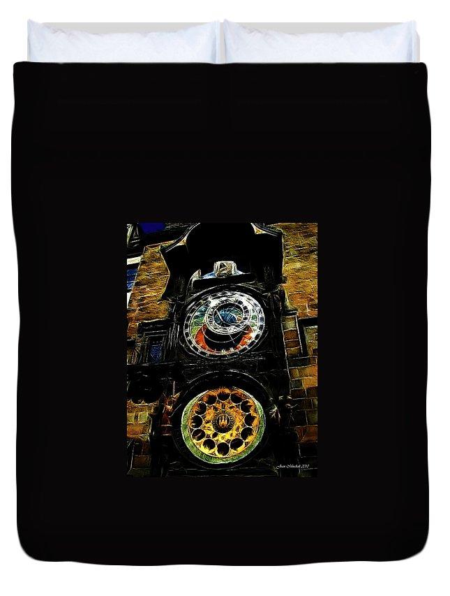 Prague Duvet Cover featuring the digital art Prague Clock by Joan Minchak