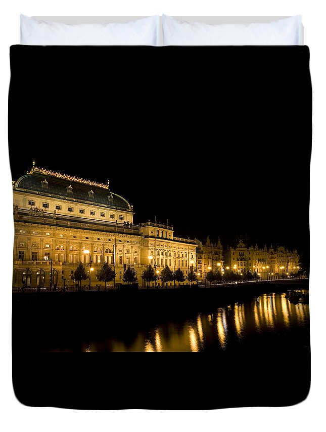 Prague Duvet Cover featuring the photograph Prague National Theatre by Julian Wicksteed