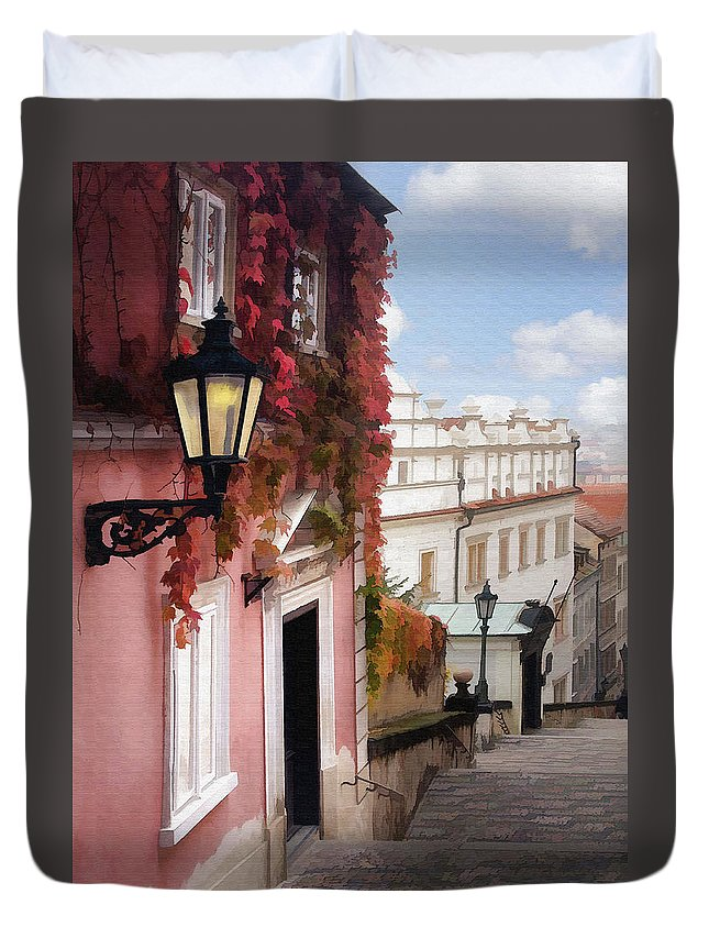 Architecture Duvet Cover featuring the photograph Prague Stairs by Sharon Foster