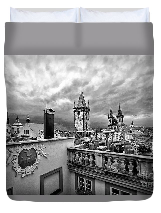 Prague Duvet Cover featuring the photograph Prague View From The Top by Madeline Ellis