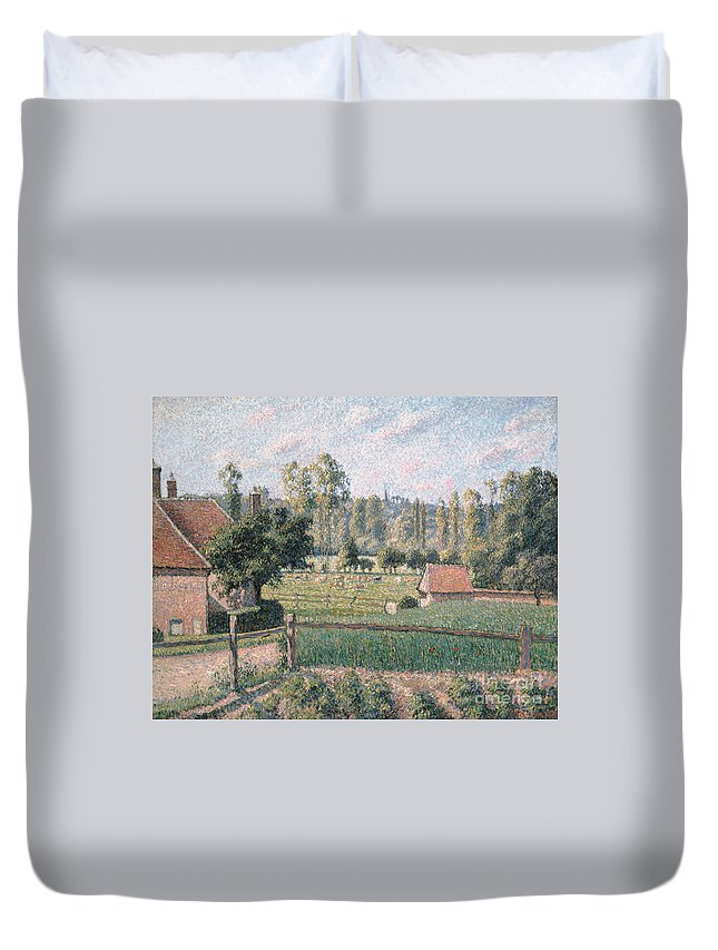 Pissarro Duvet Cover featuring the painting Prairie At Eragny, 1889 by Camille Pissarro