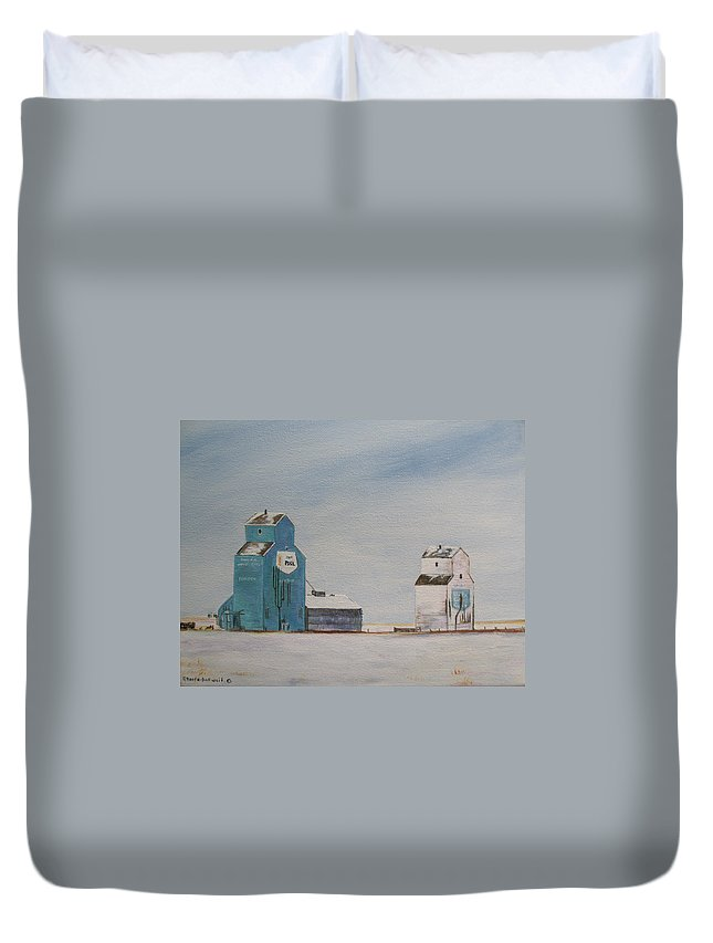 Grain Elevators Duvet Cover featuring the painting Prairie Giants II by Elaine Booth-Kallweit