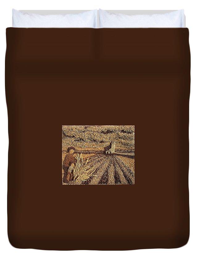 Prairie Agricultural Scene Duvet Cover featuring the painting Prairie Harvest by Naomi Gerrard