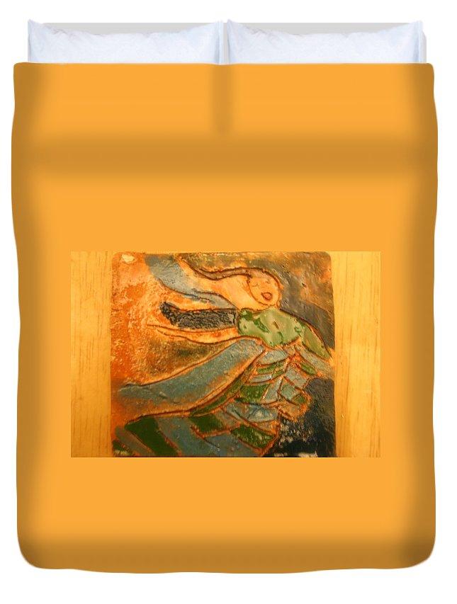 Jesus Duvet Cover featuring the ceramic art Praise Him - Tile by Gloria Ssali