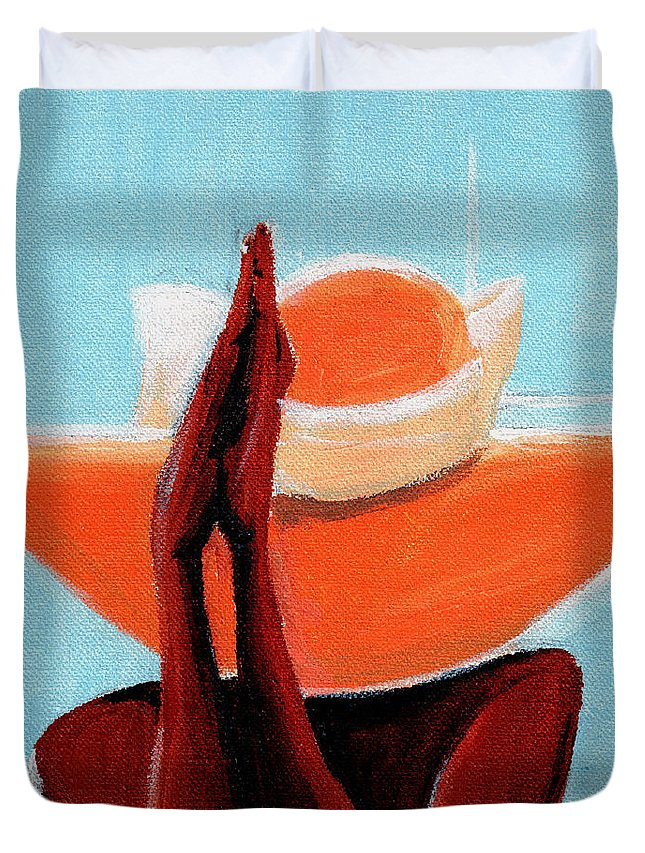 Hats Duvet Cover featuring the painting Prayer Is All by C F Legette