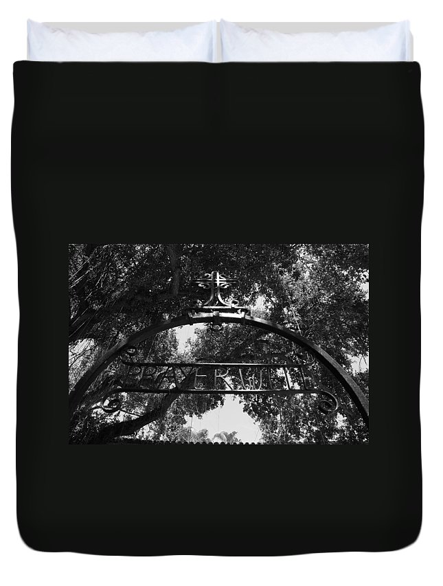 Black And White Duvet Cover featuring the photograph Prayer Well by Rob Hans