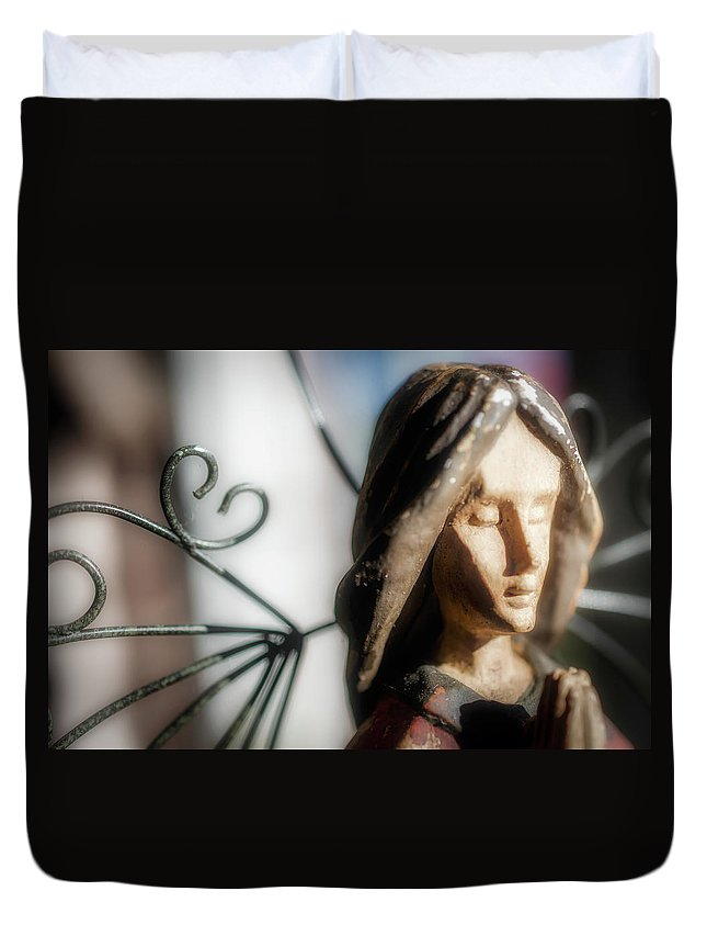 Still Duvet Cover featuring the photograph Prayerful Angel by Jim Love
