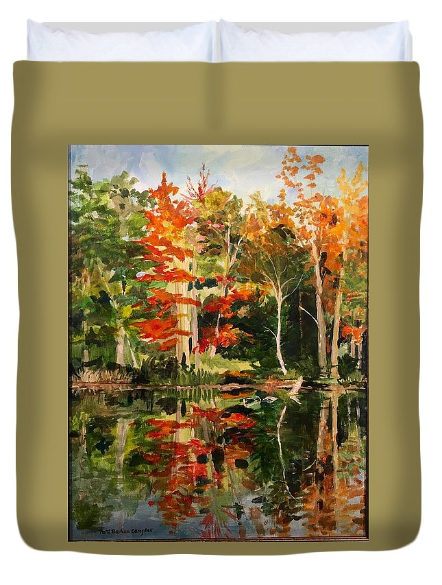Landscaping Duvet Cover featuring the painting Prentiss Pond, Dorset, Vt., Autumn by Patti Campbell