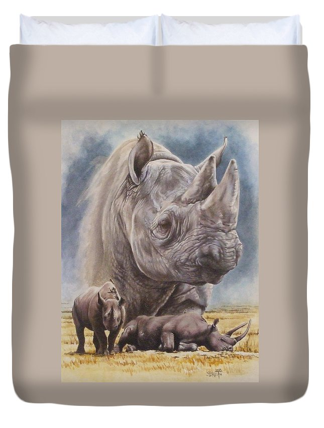 Wildlife Duvet Cover featuring the mixed media Precarious by Barbara Keith