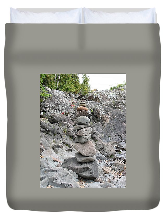 Stones Duvet Cover featuring the photograph Precarious by Kelly Mezzapelle