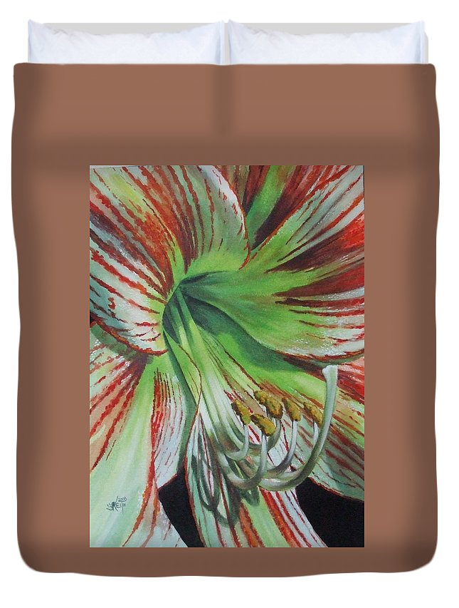 Amaryllis Duvet Cover featuring the painting Precious by Barbara Keith