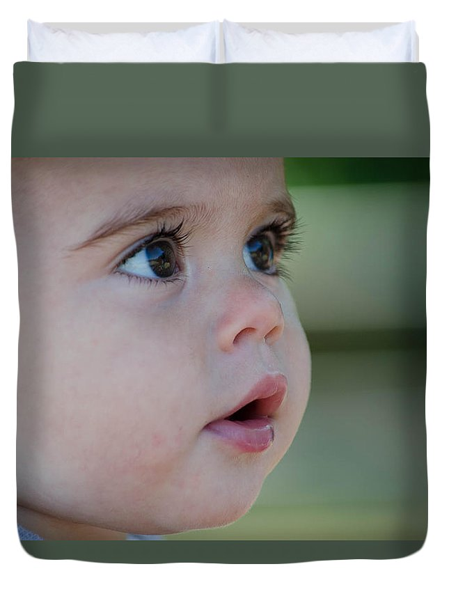 Cherub Duvet Cover featuring the photograph Precious Face by Linda Howes