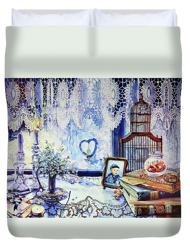 Lace Curtain Duvet Cover featuring the painting Precious Memories by Hanne Lore Koehler