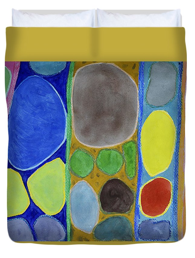 Abstract Duvet Cover featuring the painting Precious Things In Colourful Stripes by Heidi Capitaine
