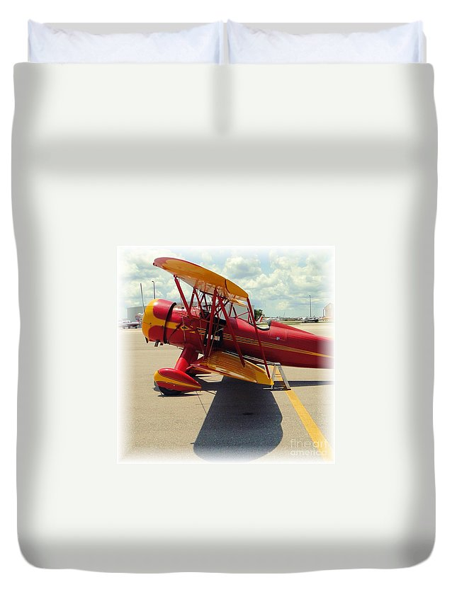 Airplane Duvet Cover featuring the photograph Preflight For The Waco by Barbie Corbett-Newmin