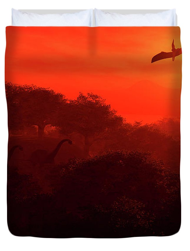 Fantasy Duvet Cover featuring the digital art Prehistoric Dawn by David Lane