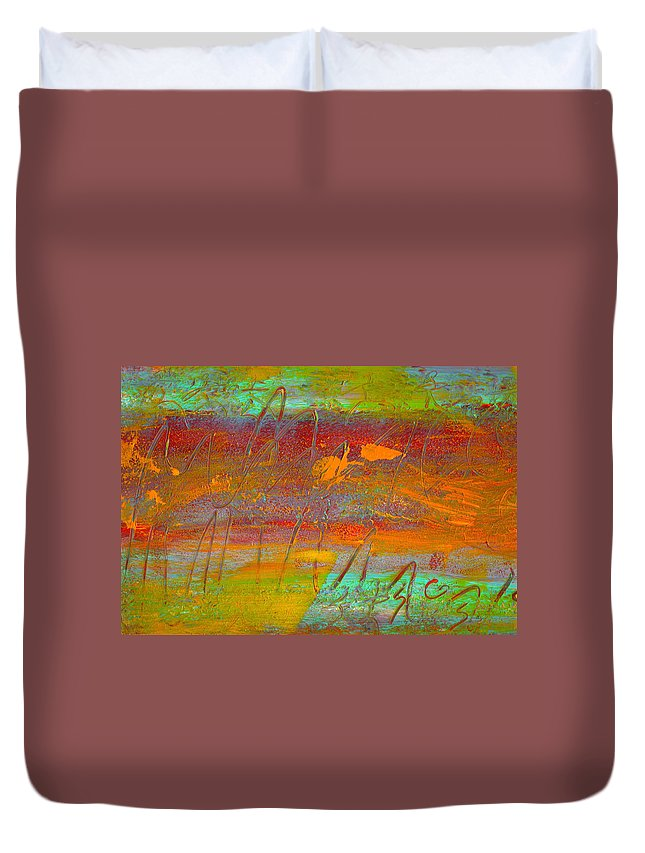 Abstract Duvet Cover featuring the painting Prelude To A Sigh by Wayne Potrafka