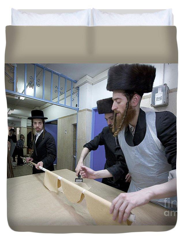 Matza Duvet Cover featuring the photograph Preparing Matzah Israel by Danny Yanai