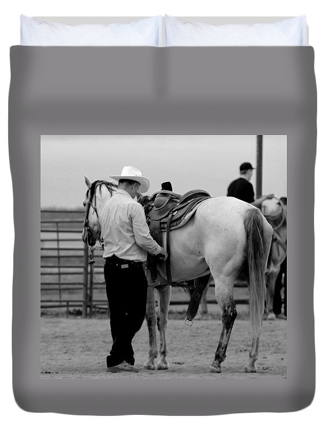 Rodeo Duvet Cover featuring the photograph Preparing by Scott Sawyer