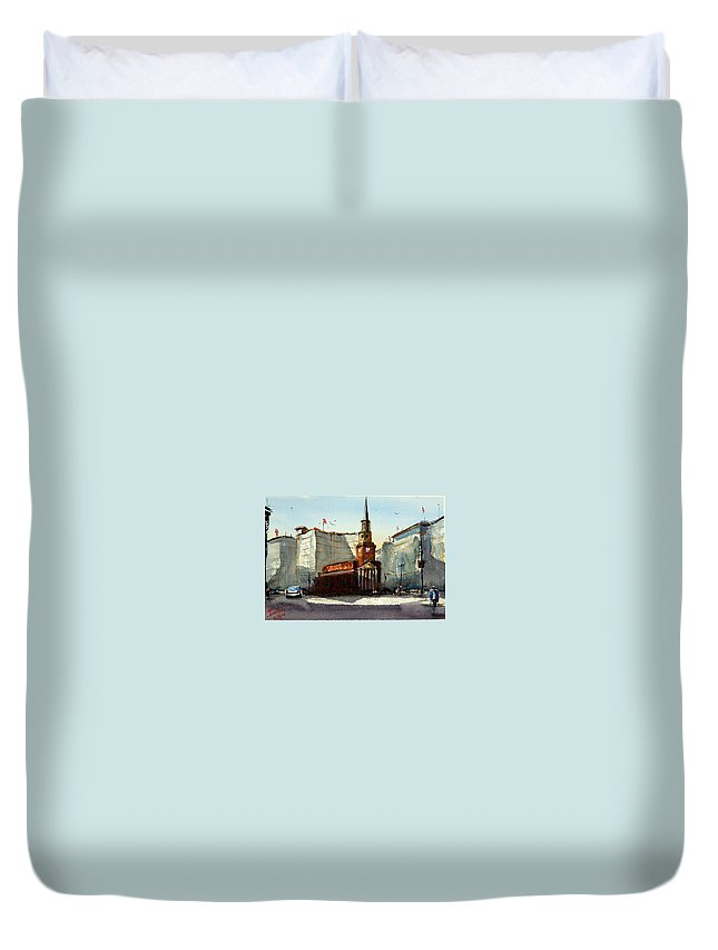 Church Duvet Cover featuring the painting Presbyterian Church, Ny Avenue Washington Dc by James Nyika