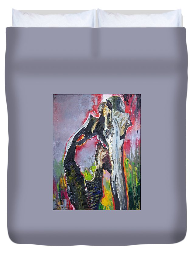 Oil Duvet Cover featuring the painting Presentiment by Sergey Ignatenko