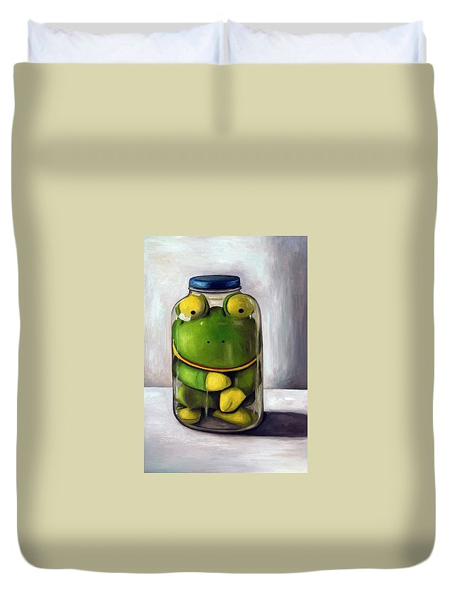 Frog Duvet Cover featuring the painting Preserving Childhood by Leah Saulnier The Painting Maniac