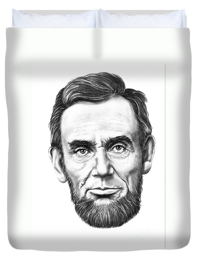 President Abe Lincoln Duvet Cover featuring the drawing President Abe Lincoln by Murphy Elliott