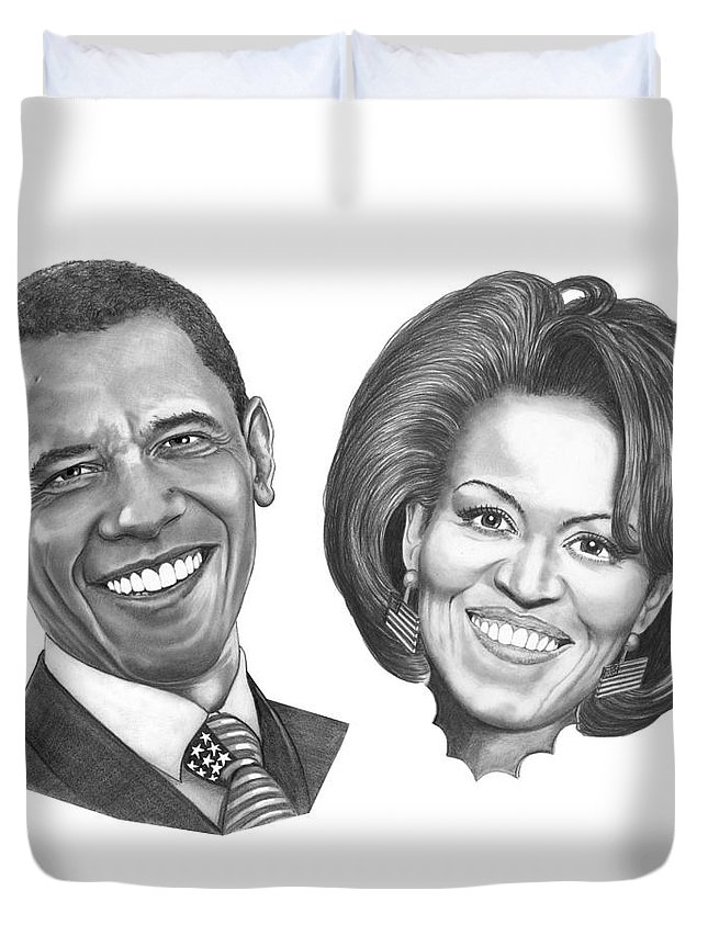 Drawings Duvet Cover featuring the drawing President And First Lady Obama by Murphy Elliott