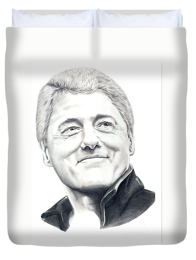 President Bill Clinton Duvet Cover featuring the drawing President Bill Clinton by Murphy Elliott