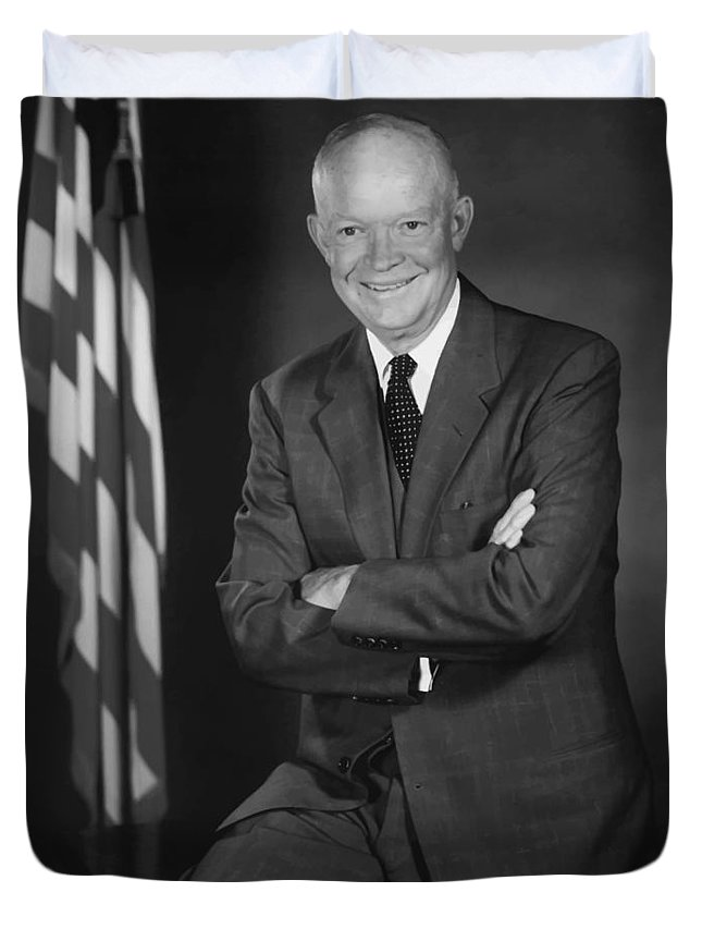 Eisenhower Duvet Cover featuring the painting President Eisenhower And The U.s. Flag by War Is Hell Store
