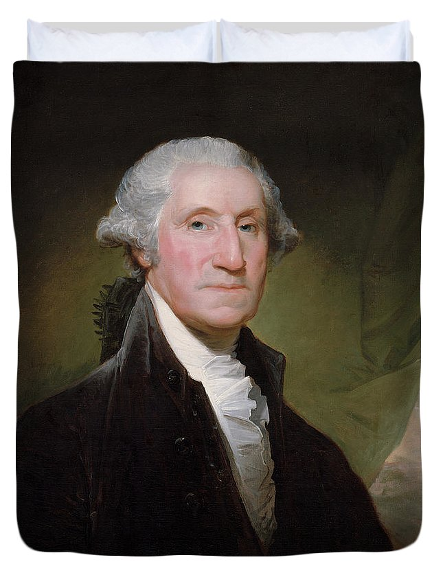 George Washington Duvet Cover featuring the painting President George Washington by War Is Hell Store