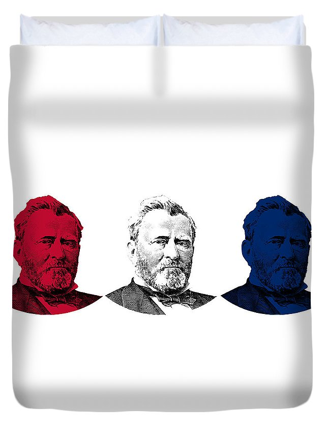 Us Grant Duvet Cover featuring the digital art President Grant Red White And Blue by War Is Hell Store