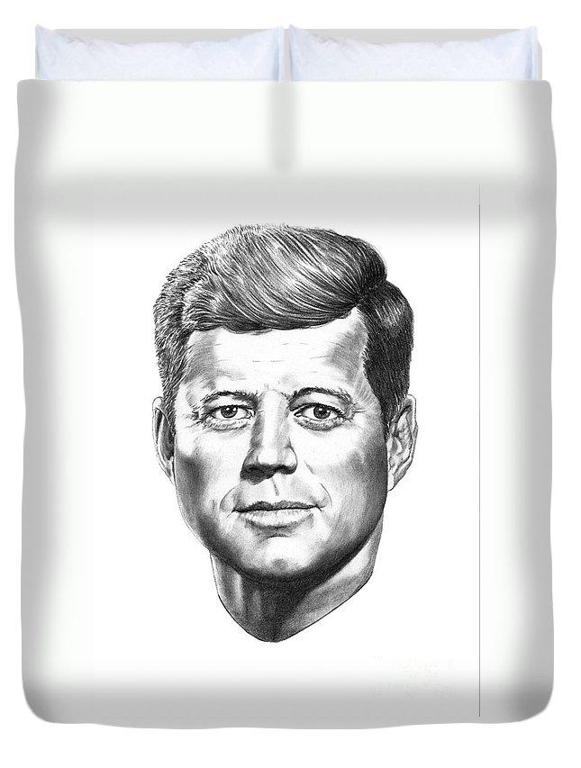 President John Kennedy Duvet Cover featuring the drawing President John F. Kennedy by Murphy Elliott