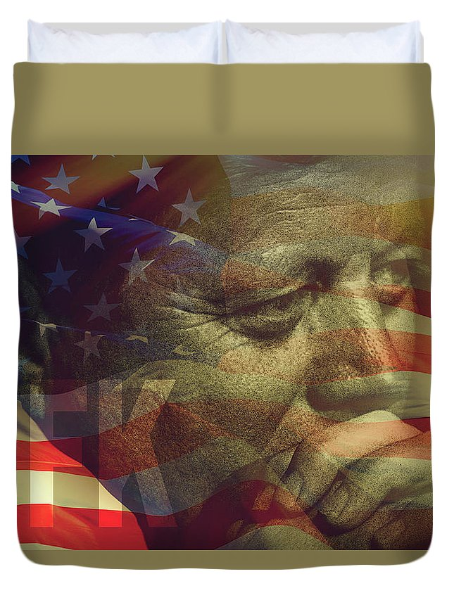 John Fitzgerald Kennedy Duvet Cover featuring the photograph President Kennedy - Digital Art by Totto Ponce