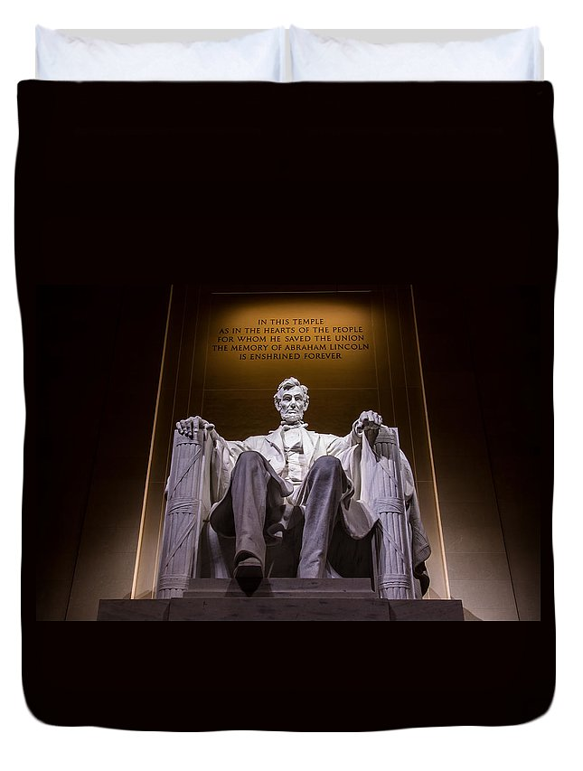 Lincoln Memorial Duvet Cover featuring the photograph President Lincoln by Brent Martin - My Photography Adventure