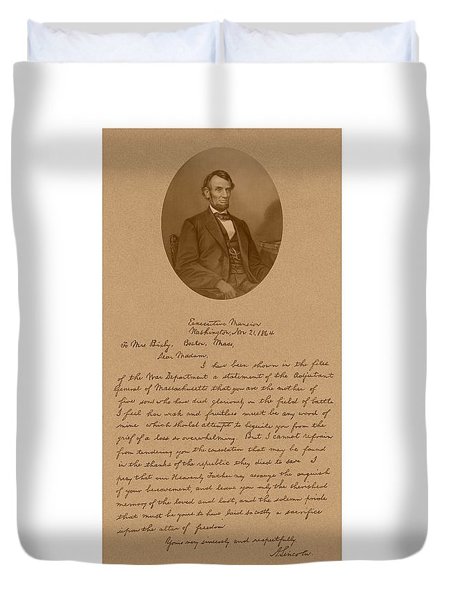 Bixby Letter Duvet Cover featuring the mixed media President Lincoln's Letter To Mrs. Bixby by War Is Hell Store
