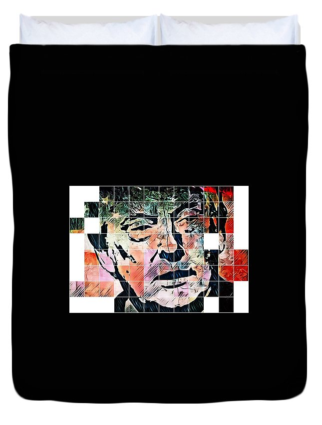 President Of The United States Duvet Cover featuring the digital art President Of The United States Donald Trump by Paulo Guimaraes