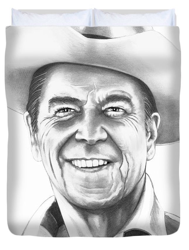 Drawing Duvet Cover featuring the drawing President Ronald Regan by Murphy Elliott