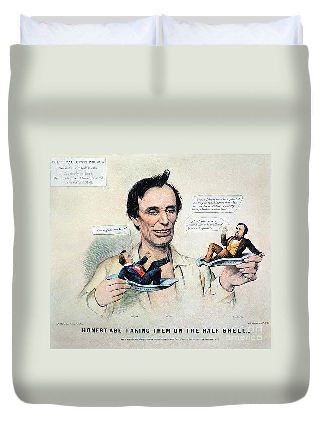 1860 Duvet Cover featuring the photograph Presidential Campaign, 1860 by Granger