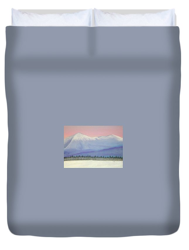 White Duvet Cover featuring the pastel Presidential Sunrise by Marc Fournier