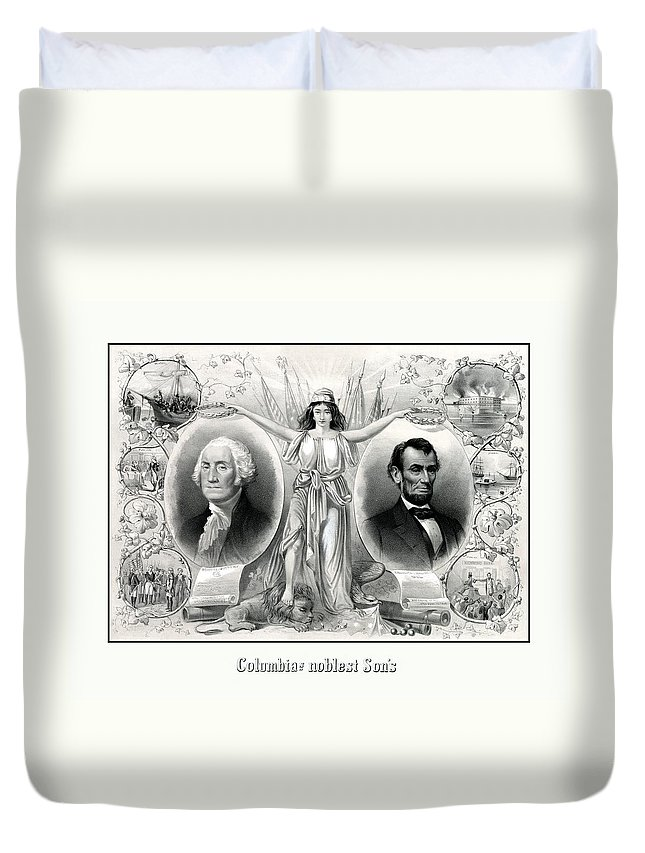 Abraham Lincoln Duvet Cover featuring the drawing Presidents Washington And Lincoln by War Is Hell Store