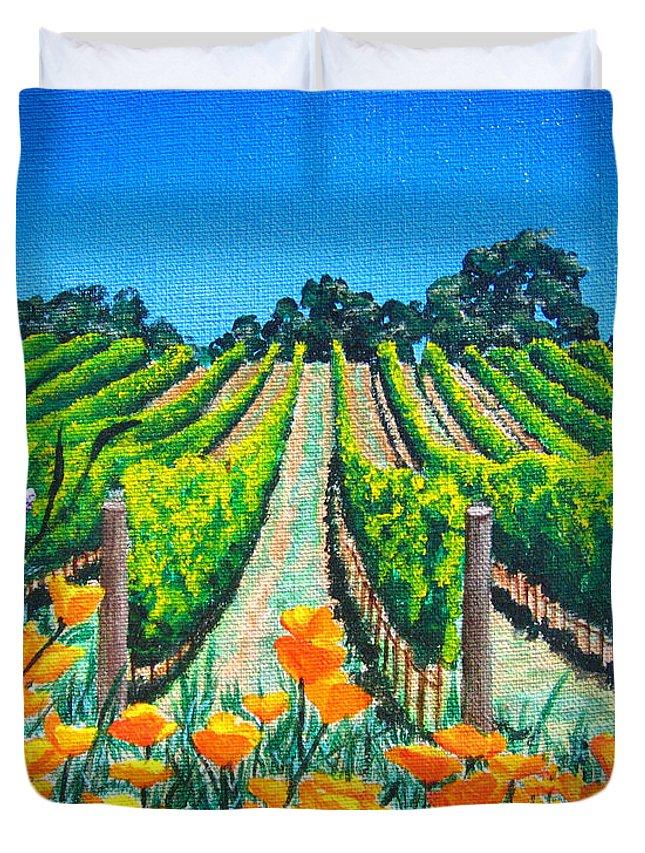 Vineyard Duvet Cover featuring the painting Presidio Vineyard by Angie Hamlin