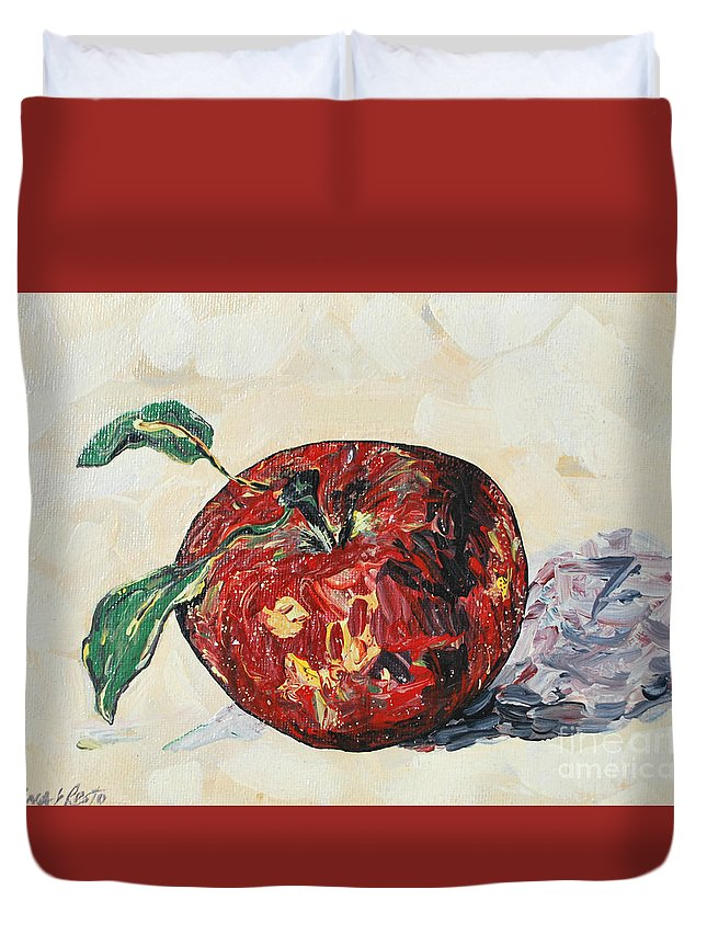 Apples Duvet Cover featuring the painting Pretty Apple by Reina Resto