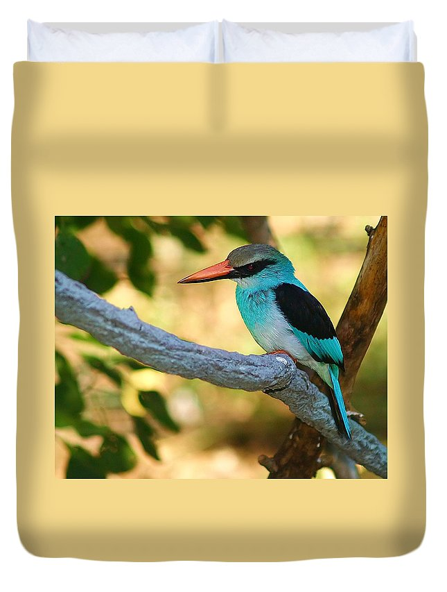 Kingfisher Duvet Cover featuring the photograph Pretty Bird by Gaby Swanson