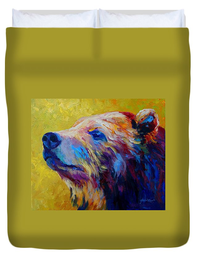 Bear Duvet Cover featuring the painting Pretty Boy - Grizzly Bear by Marion Rose