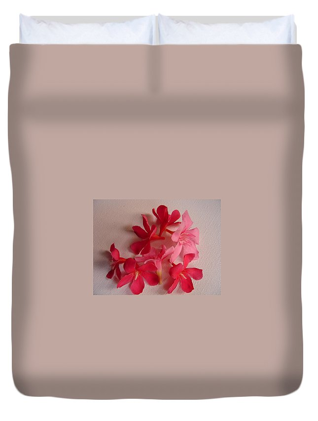 Foliage Duvet Cover featuring the photograph Pretty Flowers by Usha Shantharam