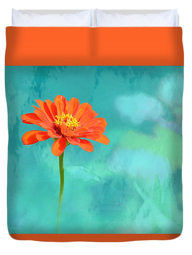 Floral Duvet Cover featuring the photograph Pretty In Orange by Debbie Nobile