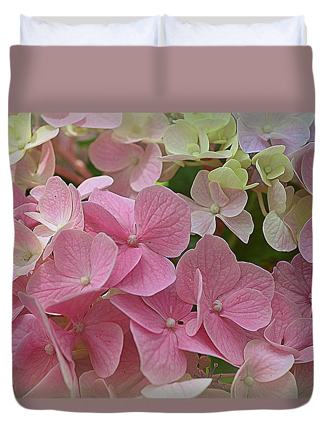 Hydrangeas Duvet Cover featuring the photograph Pretty In Pink Hydrangeas by Linda Covino